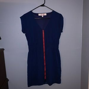 Blue and red zip front dress